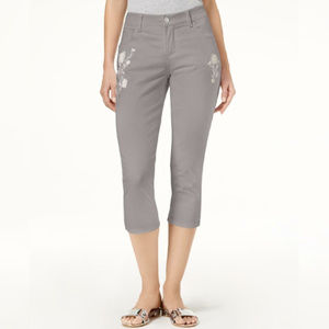 Lee Platinum Gray Embroidered Cropped Jeans